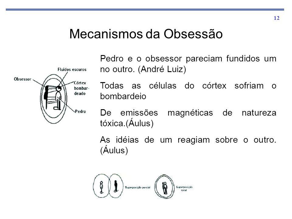 12 Mecanismos da Obsessão Pedro e o obsessor pareciam fundidos um no outro. (André Luiz) Todas as células do córtex sofriam o bombardeio De emissões m
