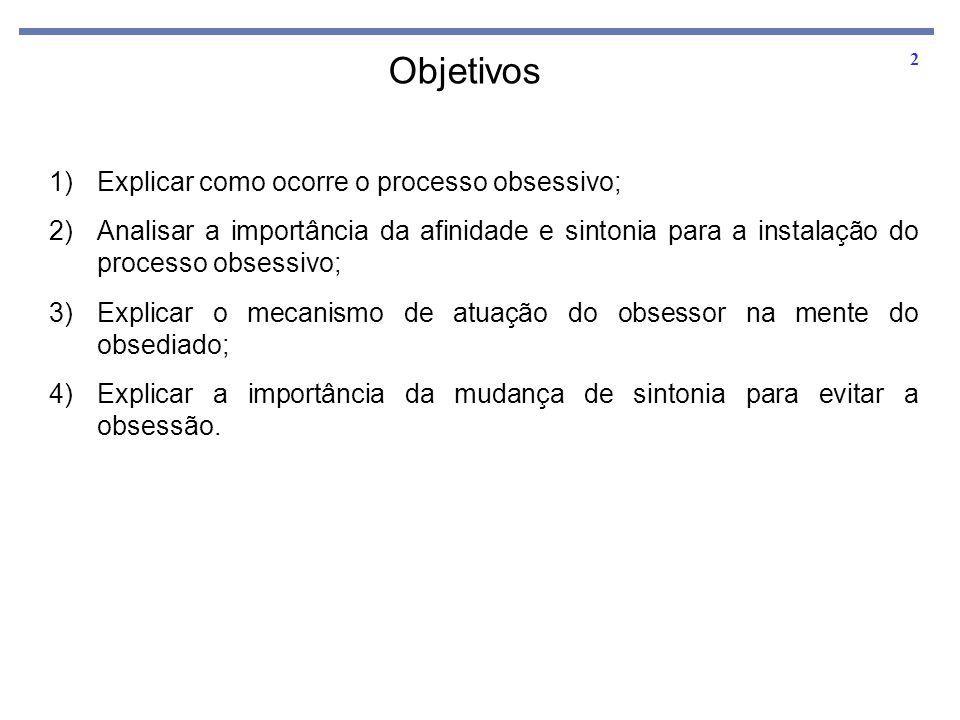 2 Objetivos 1)Explicar como ocorre o processo obsessivo; 2)Analisar a importância da afinidade e sintonia para a instalação do processo obsessivo; 3)E