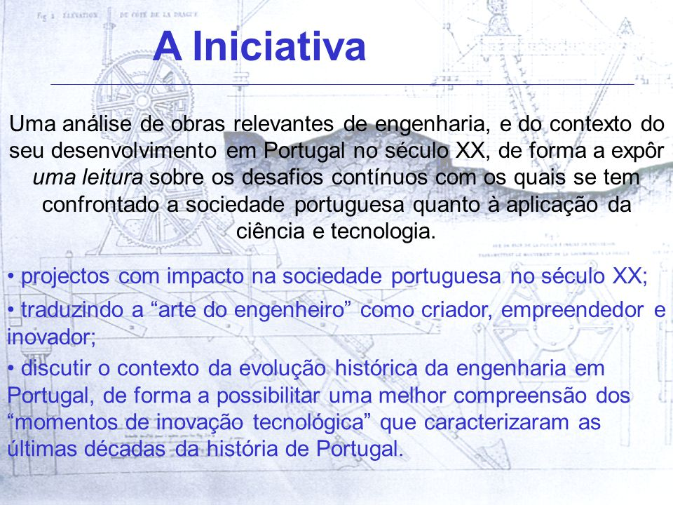 Uma análise de obras relevantes de engenharia, e do contexto do seu desenvolvimento em Portugal no século XX, de forma a expôr uma leitura sobre os desafios contínuos com os quais se tem confrontado a sociedade portuguesa quanto à aplicação da ciência e tecnologia.