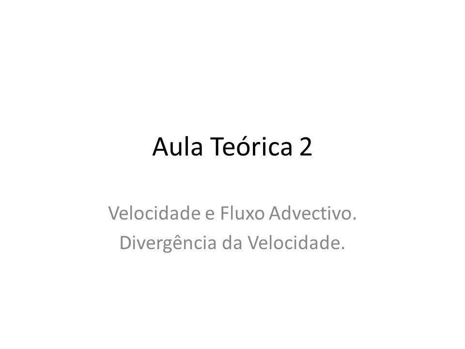 Aula Teórica 2 Velocidade e Fluxo Advectivo. Divergência da Velocidade.