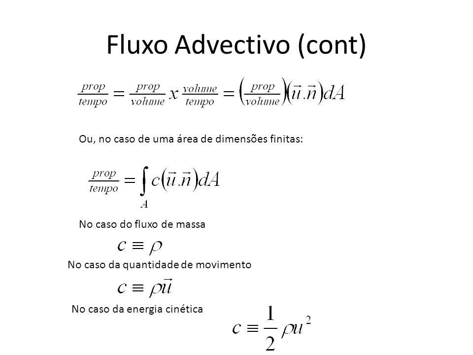 Fluxo Advectivo (cont) Ou, no caso de uma área de dimensões finitas: No caso do fluxo de massa No caso da quantidade de movimento No caso da energia c