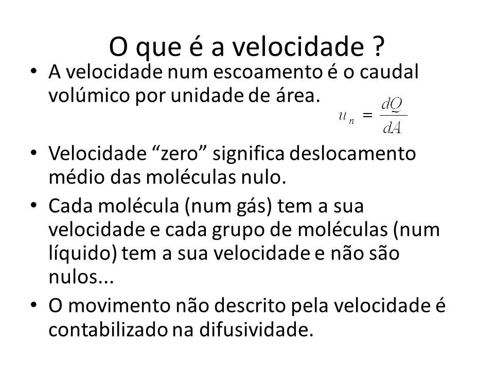 """O que é a velocidade ? A velocidade num escoamento é o caudal volúmico por unidade de área. Velocidade """"zero"""" significa deslocamento médio das molécul"""