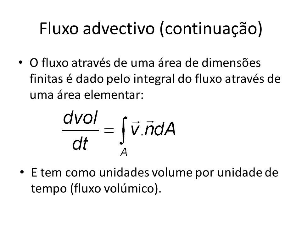 Fluxo advectivo (continuação) O fluxo através de uma área de dimensões finitas é dado pelo integral do fluxo através de uma área elementar: E tem como