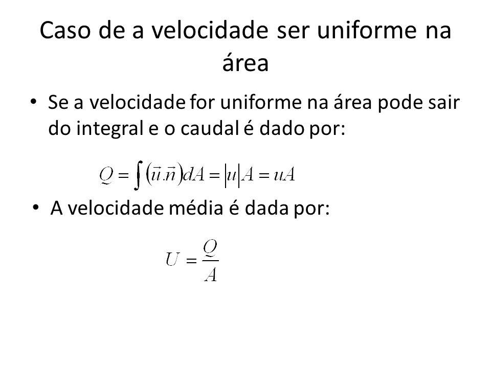 Caso de a velocidade ser uniforme na área Se a velocidade for uniforme na área pode sair do integral e o caudal é dado por: A velocidade média é dada