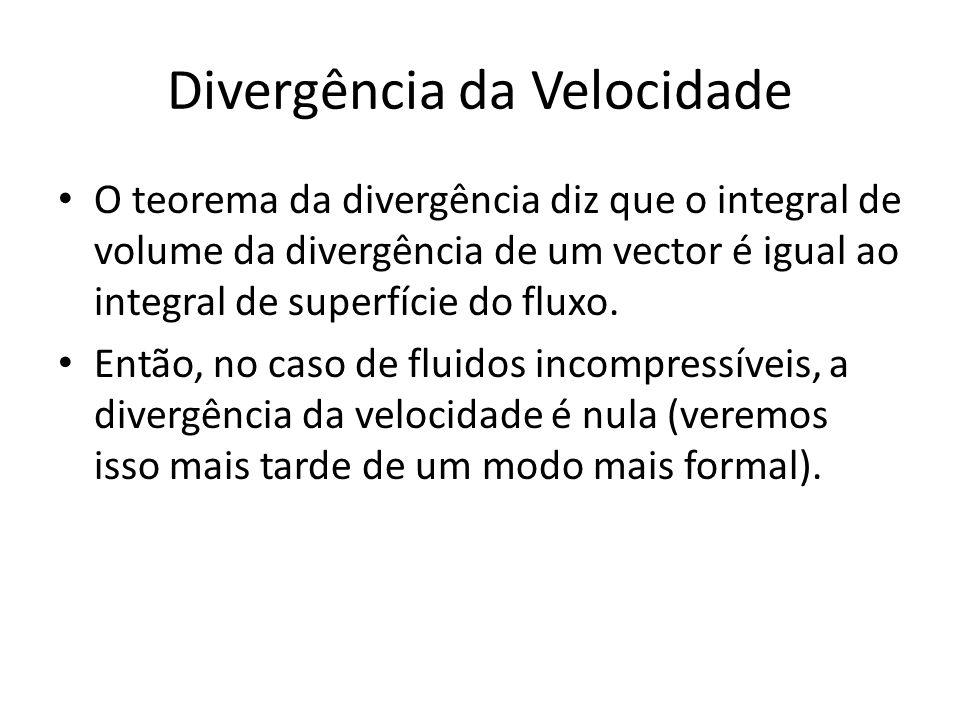 Divergência da Velocidade O teorema da divergência diz que o integral de volume da divergência de um vector é igual ao integral de superfície do fluxo