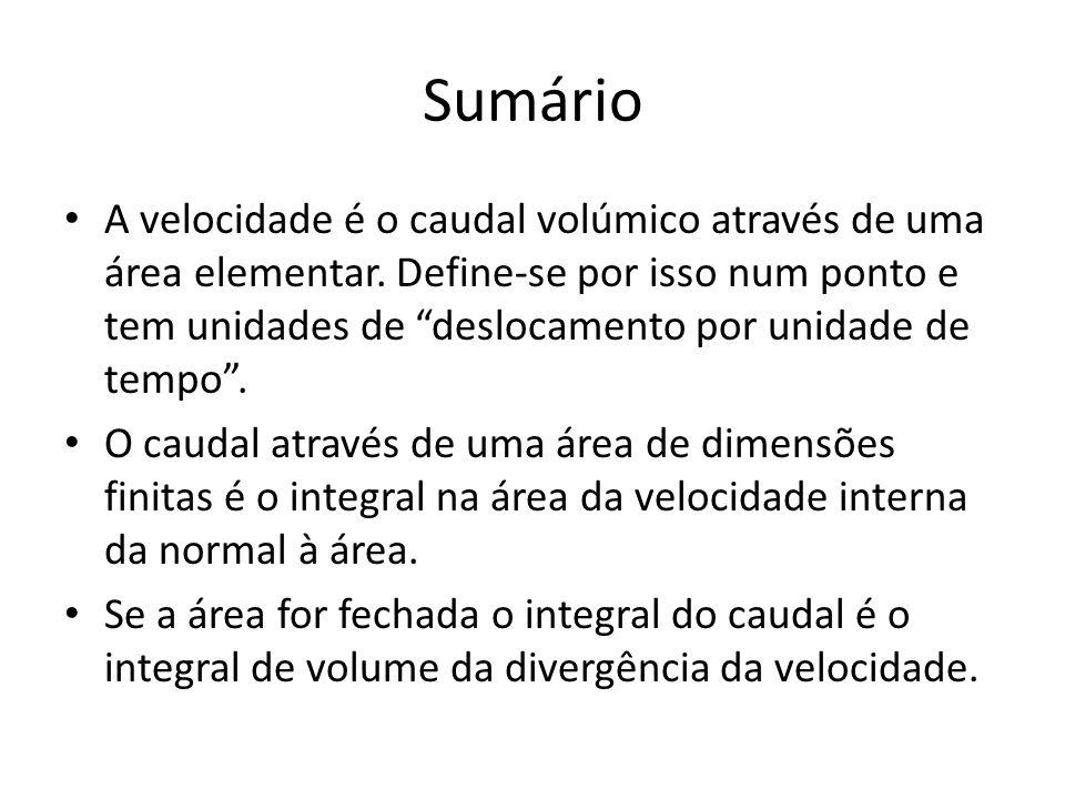 """Sumário A velocidade é o caudal volúmico através de uma área elementar. Define-se por isso num ponto e tem unidades de """"deslocamento por unidade de te"""