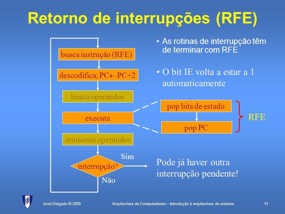 Arquitectura de Computadores – Introdução à arquitectura de sistema11José Delgado © 2009 Retorno de interrupções (RFE) descodifica; PC  PC+2 executa interrupção.