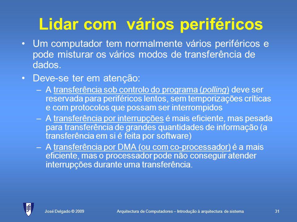 Arquitectura de Computadores – Introdução à arquitectura de sistema31José Delgado © 2009 Lidar com vários periféricos Um computador tem normalmente vários periféricos e pode misturar os vários modos de transferência de dados.