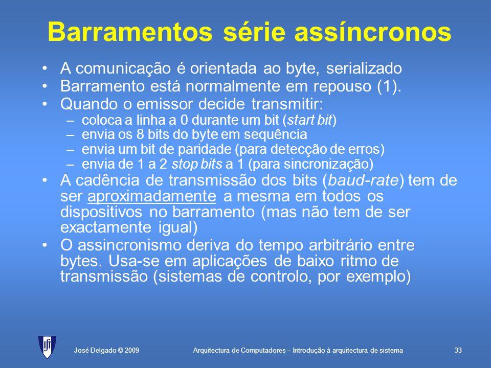 Arquitectura de Computadores – Introdução à arquitectura de sistema33José Delgado © 2009 Barramentos série assíncronos A comunicação é orientada ao byte, serializado Barramento está normalmente em repouso (1).