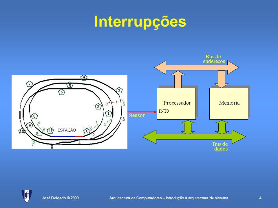 Arquitectura de Computadores – Introdução à arquitectura de sistema35José Delgado © 2009 Comunicação série assíncrona (cont.) Há diversas baud-rates normalizadas: –110 bit/s –75 bit/s e seus múltiplos: 150, 300, 600, 1200, 2400, 4800, 9600, 19200, 38400 –14400 bit/s e seus múltiplos: 28800, 33200, 57600 Outros parâmetros: –Paridade: par, ímpar ou nenhuma –Stop bits: 1, 1.5 ou 2 Existem já chips que implementam este protocolo: –UART (Universal Asynchronous Receiver and Transmitter) –USART (suporta também o protocolo síncrono)