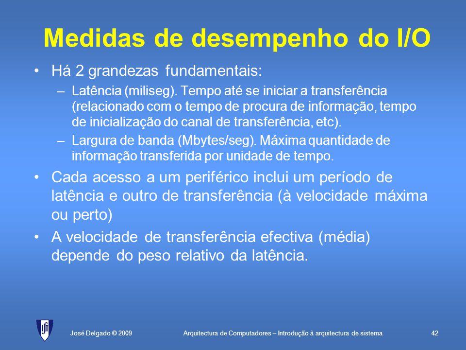 Arquitectura de Computadores – Introdução à arquitectura de sistema42José Delgado © 2009 Medidas de desempenho do I/O Há 2 grandezas fundamentais: –Latência (miliseg).