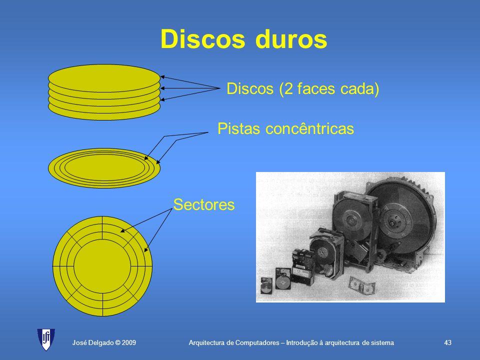 Arquitectura de Computadores – Introdução à arquitectura de sistema43José Delgado © 2009 Discos duros Discos (2 faces cada) Pistas concêntricas Sectores