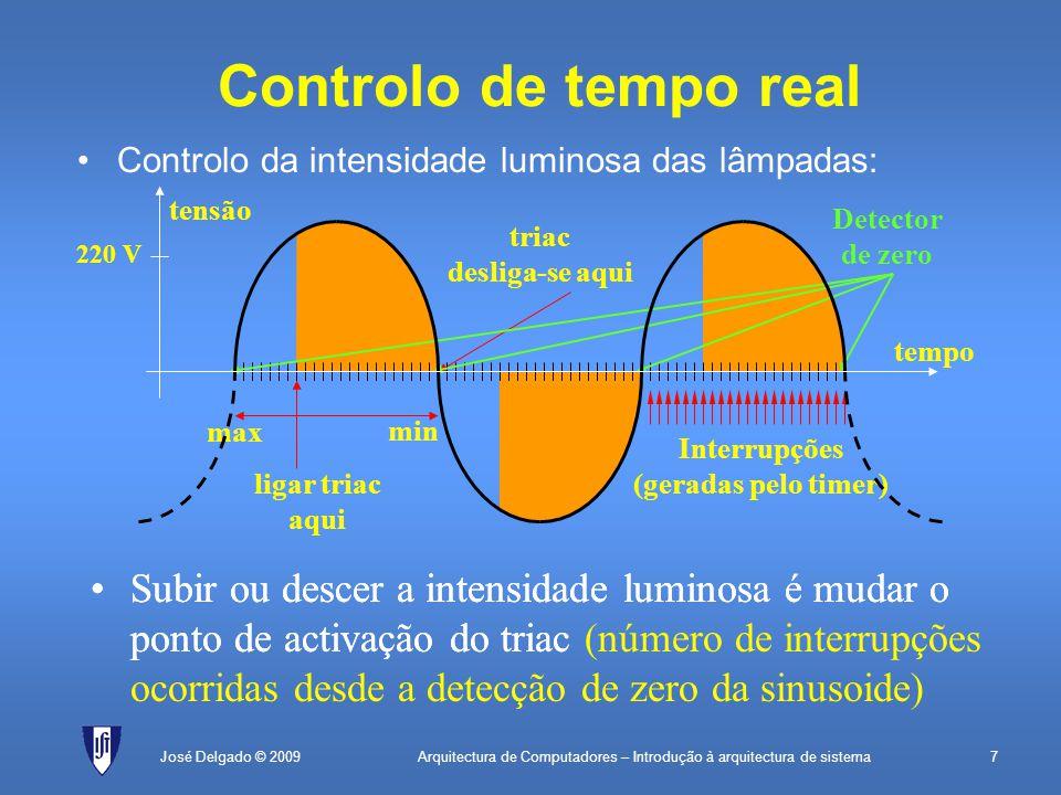 Arquitectura de Computadores – Introdução à arquitectura de sistema7José Delgado © 2009 ligar triac aqui triac desliga-se aqui Controlo de tempo real Controlo da intensidade luminosa das lâmpadas: Interrupções (geradas pelo timer) Subir ou descer a intensidade luminosa é mudar o ponto de activação do triac (número de interrupções ocorridas desde a detecção de zero da sinusoide) Detector de zero max min Subir ou descer a intensidade luminosa é mudar o ponto de activação do triac tempo tensão 220 V