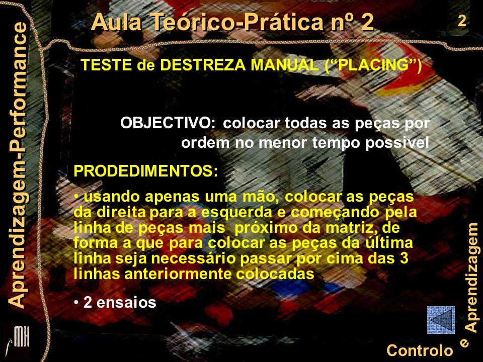 """2 Controlo e Aprendizagem Aula Teórico-Prática nº 2 Aprendizagem-Performance TESTE de DESTREZA MANUAL (""""PLACING"""") OBJECTIVO: colocar todas as peças po"""