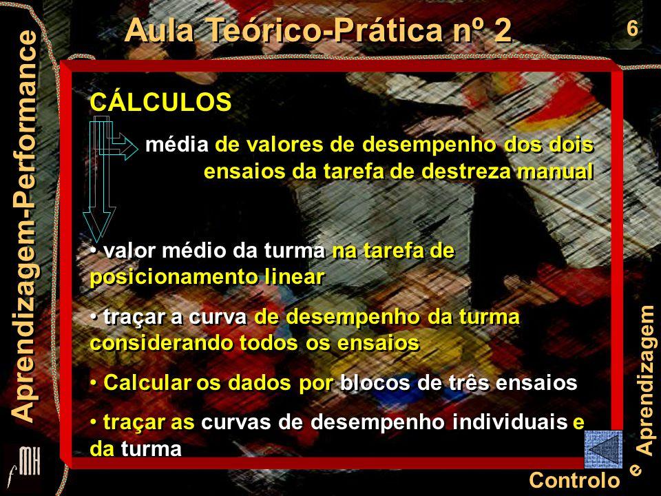 6 Controlo e Aprendizagem Aula Teórico-Prática nº 2 Aprendizagem-Performance CÁLCULOS média de valores de desempenho dos dois ensaios da tarefa de des