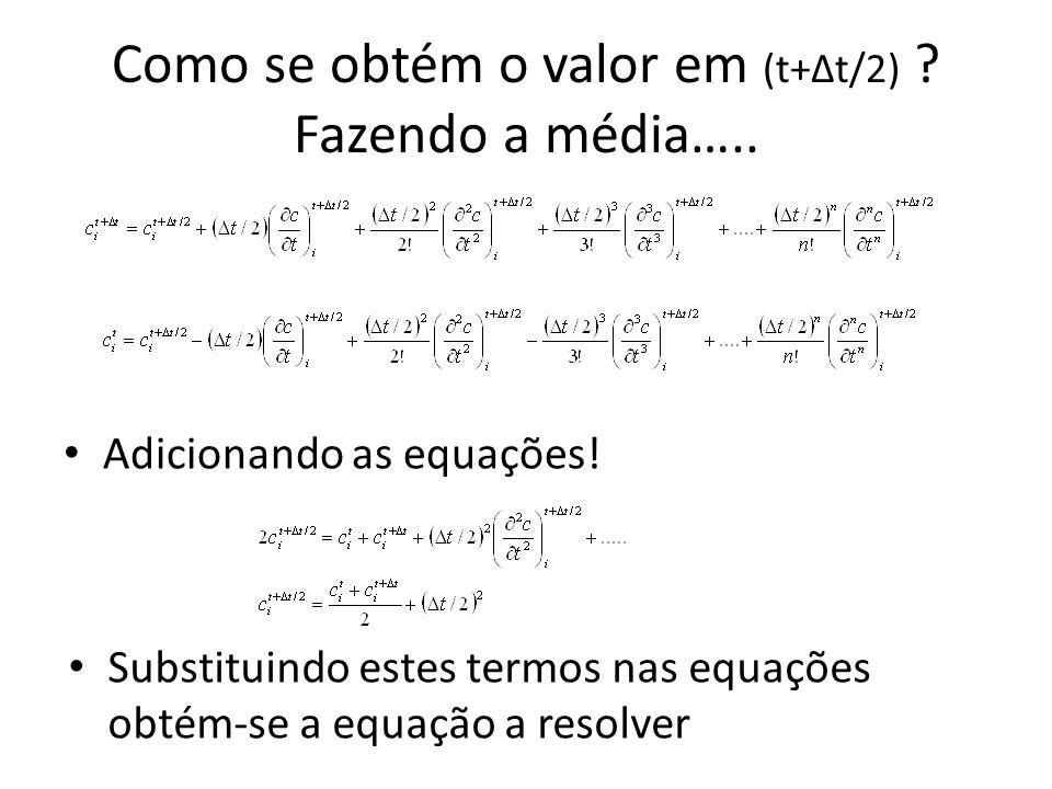 Como se obtém o valor em (t+Δt/2) ? Fazendo a média….. Adicionando as equações! Substituindo estes termos nas equações obtém-se a equação a resolver