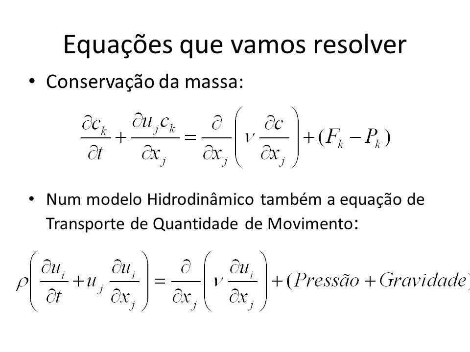 Equações que vamos resolver Conservação da massa: Num modelo Hidrodinâmico também a equação de Transporte de Quantidade de Movimento :