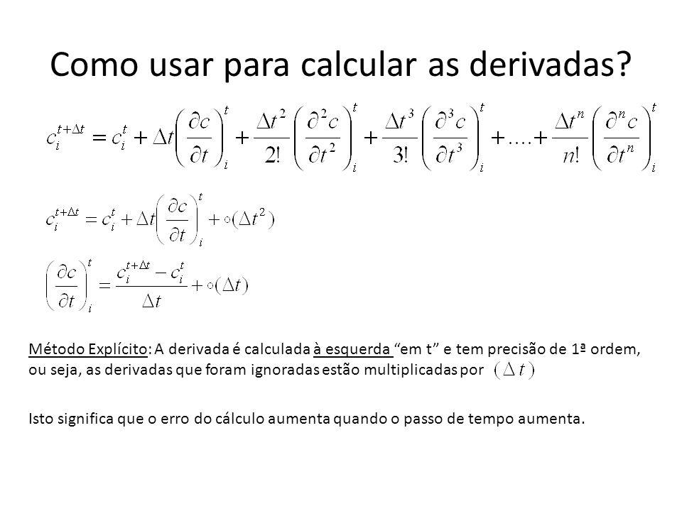 """Como usar para calcular as derivadas? Método Explícito: A derivada é calculada à esquerda """"em t"""" e tem precisão de 1ª ordem, ou seja, as derivadas que"""