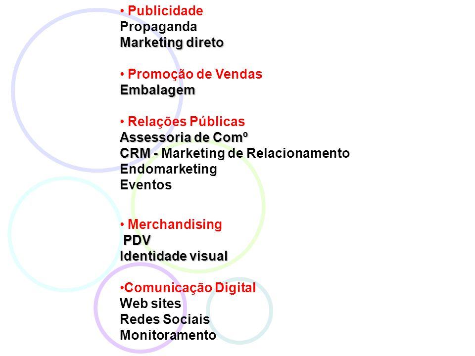 Publicidade Propaganda Marketing direto Promoção de VendasEmbalagem Relações Públicas Assessoria de Comº CRM - CRM - Marketing de Relacionamento Endomarketing Eventos Merchandising PDV PDV Identidade visual Comunicação Digital Web sites Redes Sociais Monitoramento