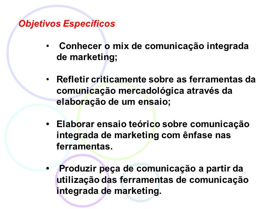 Objetivos Específicos Conhecer o mix de comunicação integrada de marketing; Refletir criticamente sobre as ferramentas da comunicação mercadológica através da elaboração de um ensaio; Elaborar ensaio teórico sobre comunicação integrada de marketing com ênfase nas ferramentas.