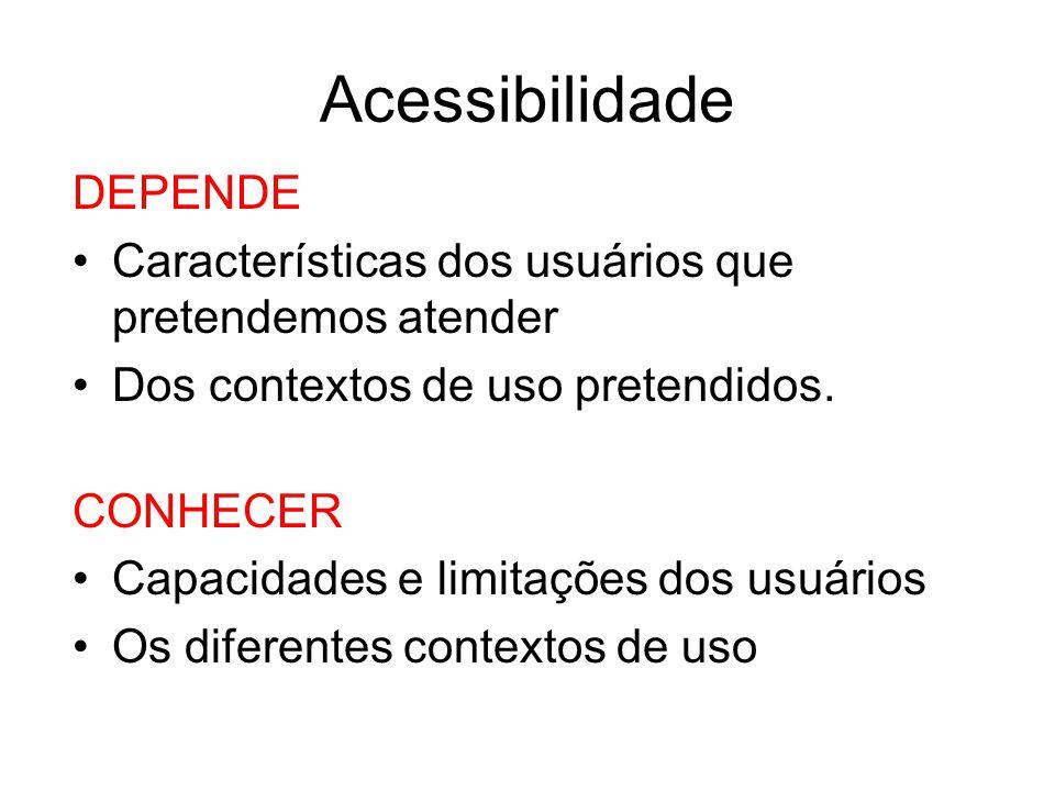 Acessibilidade DEPENDE Características dos usuários que pretendemos atender Dos contextos de uso pretendidos. CONHECER Capacidades e limitações dos us