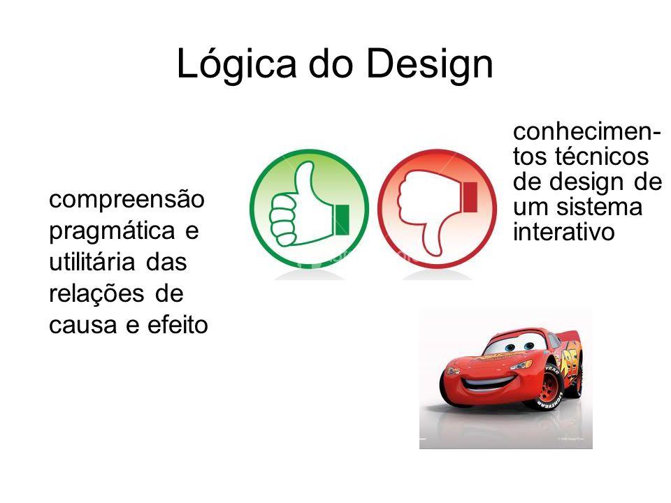 Lógica do Design compreensão pragmática e utilitária das relações de causa e efeito conhecimen- tos técnicos de design de um sistema interativo