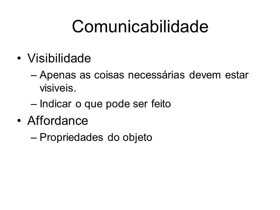 Comunicabilidade Visibilidade –Apenas as coisas necessárias devem estar visiveis. –Indicar o que pode ser feito Affordance –Propriedades do objeto