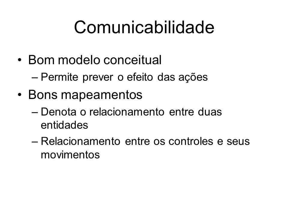 Comunicabilidade Bom modelo conceitual –Permite prever o efeito das ações Bons mapeamentos –Denota o relacionamento entre duas entidades –Relacionamen