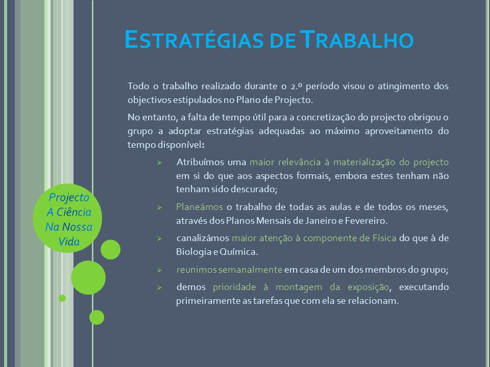 E STRATÉGIAS DE T RABALHO Todo o trabalho realizado durante o 2.º período visou o atingimento dos objectivos estipulados no Plano de Projecto.