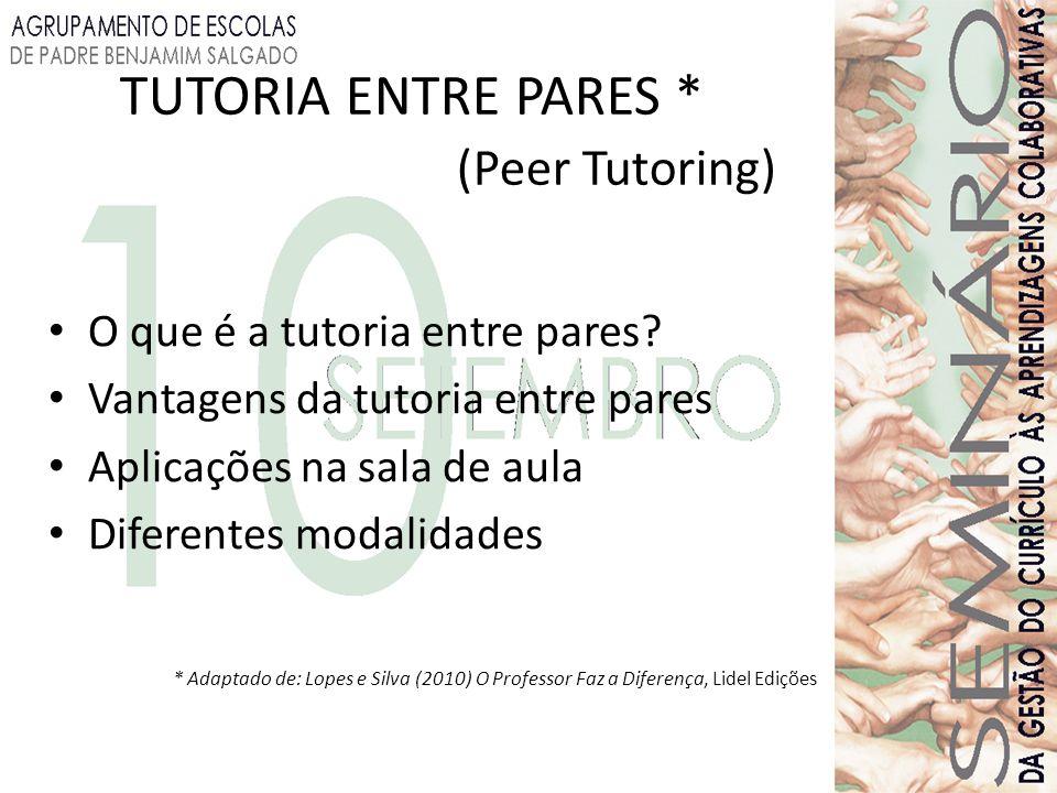TUTORIA ENTRE PARES * (Peer Tutoring) O que é a tutoria entre pares? Vantagens da tutoria entre pares Aplicações na sala de aula Diferentes modalidade