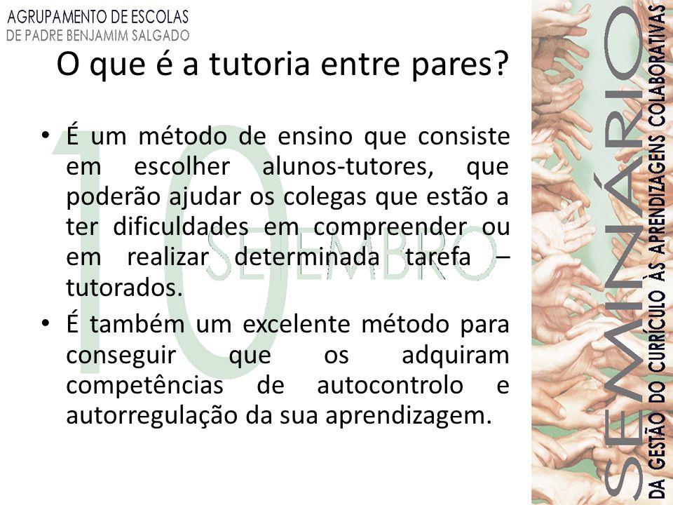 É um método de ensino que consiste em escolher alunos-tutores, que poderão ajudar os colegas que estão a ter dificuldades em compreender ou em realiza