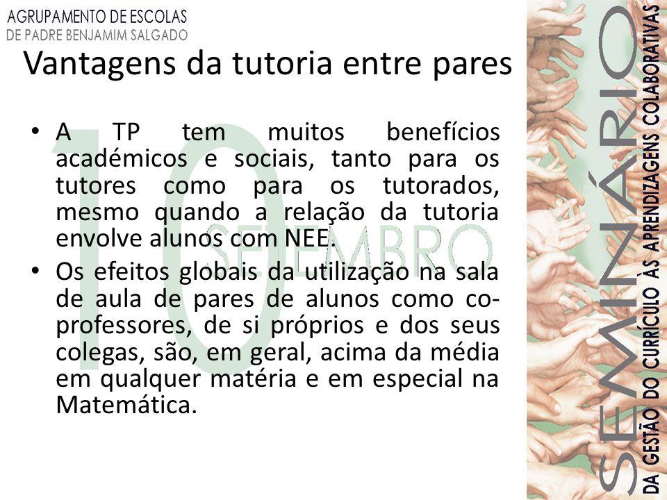 Vantagens da tutoria entre pares A TP tem muitos benefícios académicos e sociais, tanto para os tutores como para os tutorados, mesmo quando a relação