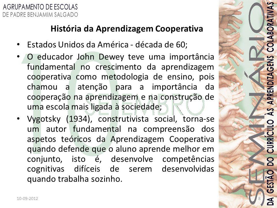 10-09-20128 História da Aprendizagem Cooperativa Estados Unidos da América - década de 60; O educador John Dewey teve uma importância fundamental no c