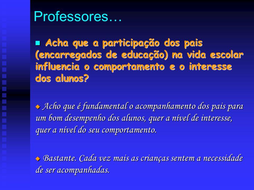 Professores… A Acha que a participação dos pais (encarregados de educação) na vida escolar influencia o comportamento e o interesse dos alunos?  A A