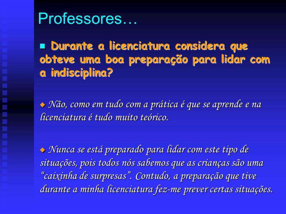Professores… D Durante a licenciatura considera que obteve uma boa preparação para lidar com a indisciplina?  N N N Não, como em tudo com a prátic
