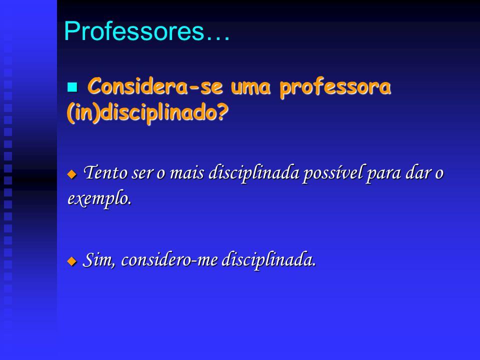 Professores… C Considera-se uma professora (in)disciplinado?  T T T Tento ser o mais disciplinada possível para dar o exemplo.  S S S Sim, con