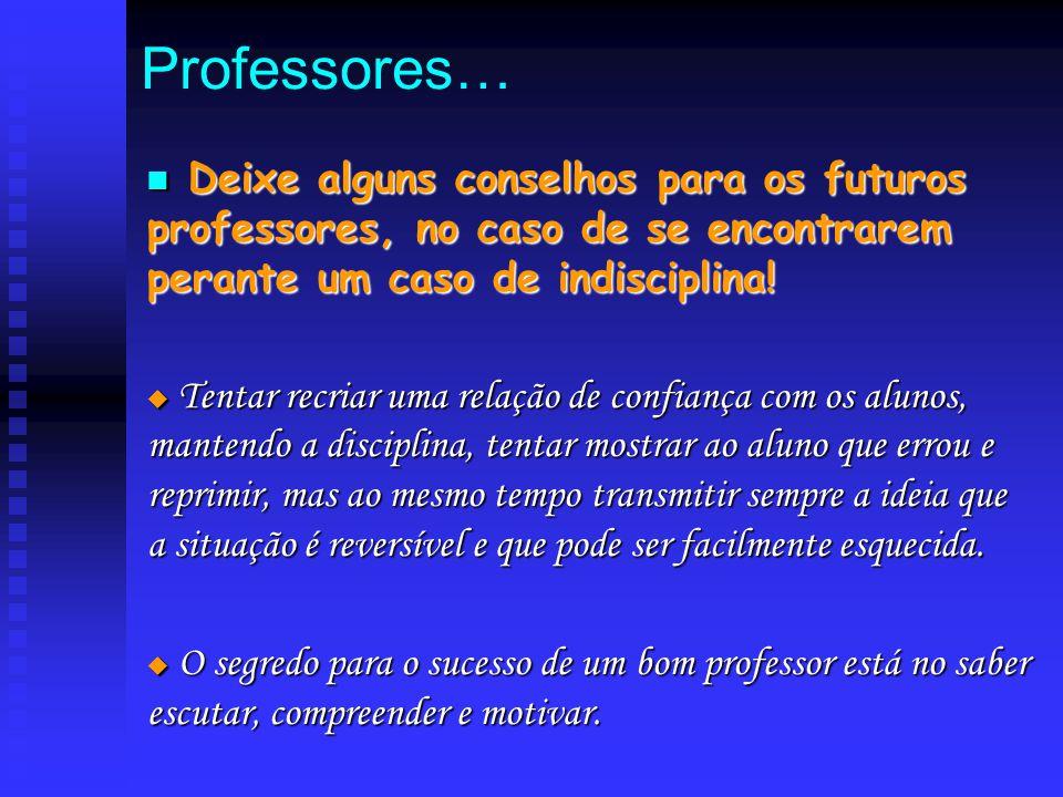 Professores… D Deixe alguns conselhos para os futuros professores, no caso de se encontrarem perante um caso de indisciplina!  T T T Tentar recria