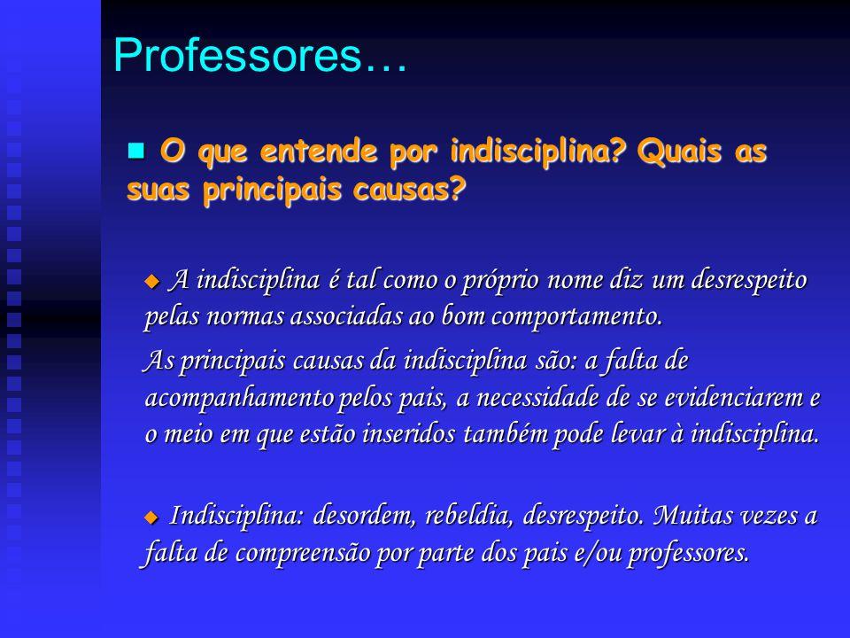 O O que entende por indisciplina? Quais as suas principais causas?  A A A A indisciplina é tal como o próprio nome diz um desrespeito pelas normas