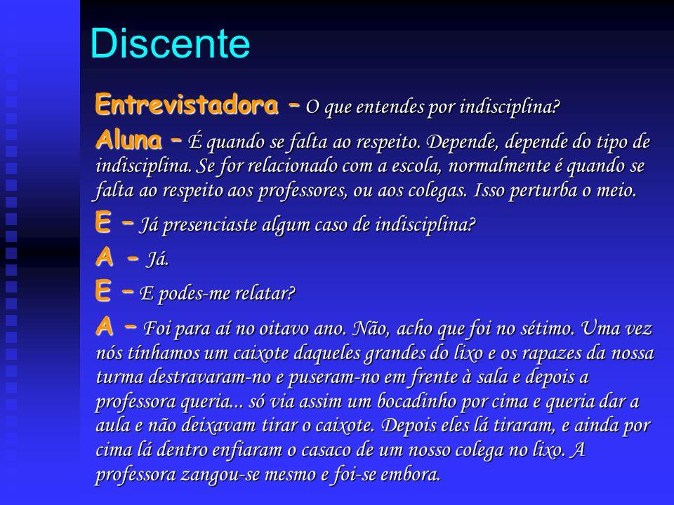 DiscenteEntrevistadora – O que entendes por indisciplina? Aluna – É quando se falta ao respeito. Depende, depende do tipo de indisciplina. Se for rela