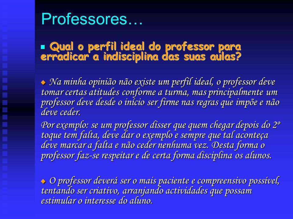 Professores… Q Qual o perfil ideal do professor para erradicar a indisciplina das suas aulas?  N N N Na minha opinião não existe um perfil ideal,