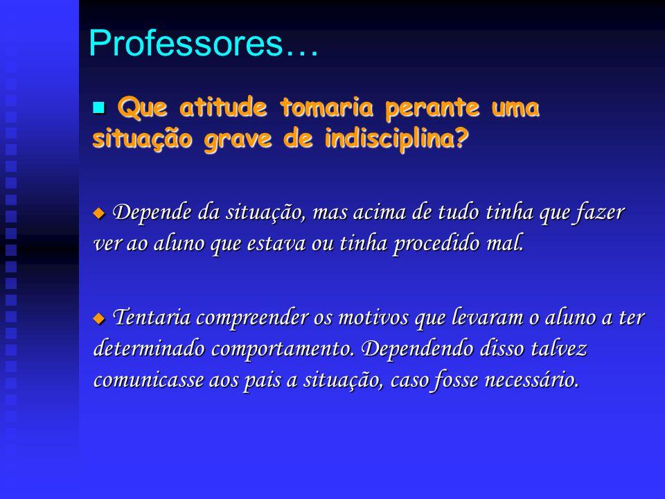 Professores… Q Que atitude tomaria perante uma situação grave de indisciplina?  D D D Depende da situação, mas acima de tudo tinha que fazer ver a