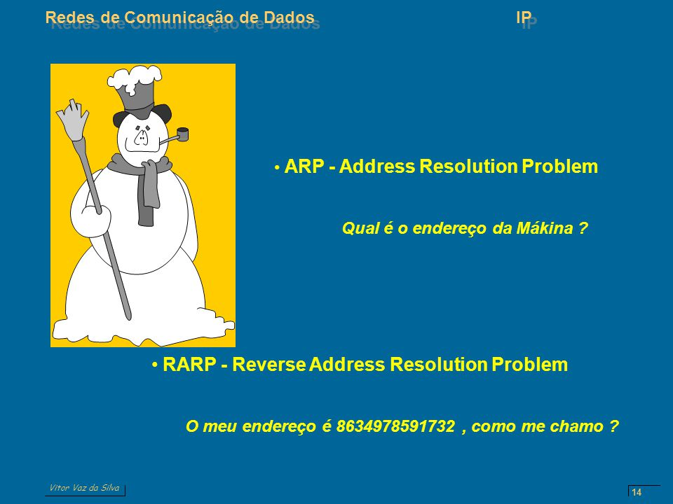 Vitor Vaz da Silva Redes de Comunicação de DadosIP 14 ARP - Address Resolution Problem Qual é o endereço da Mákina ? RARP - Reverse Address Resolution