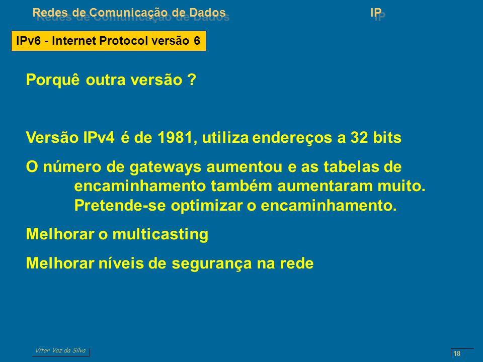 Vitor Vaz da Silva Redes de Comunicação de DadosIP 18 IPv6 - Internet Protocol versão 6 Porquê outra versão .