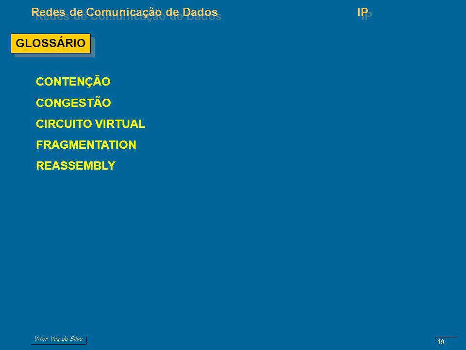 Vitor Vaz da Silva Redes de Comunicação de DadosIP 19 GLOSSÁRIO CONTENÇÃO CONGESTÃO CIRCUITO VIRTUAL FRAGMENTATION REASSEMBLY