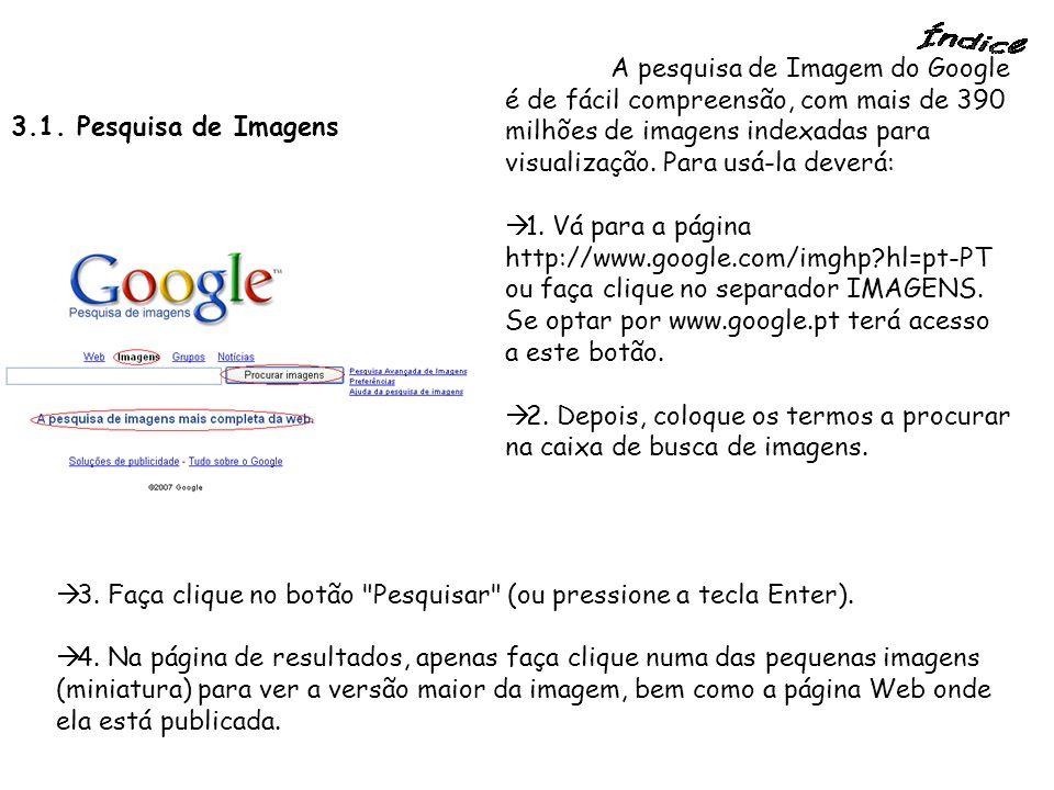 3.1. Pesquisa de Imagens A pesquisa de Imagem do Google é de fácil compreensão, com mais de 390 milhões de imagens indexadas para visualização. Para u