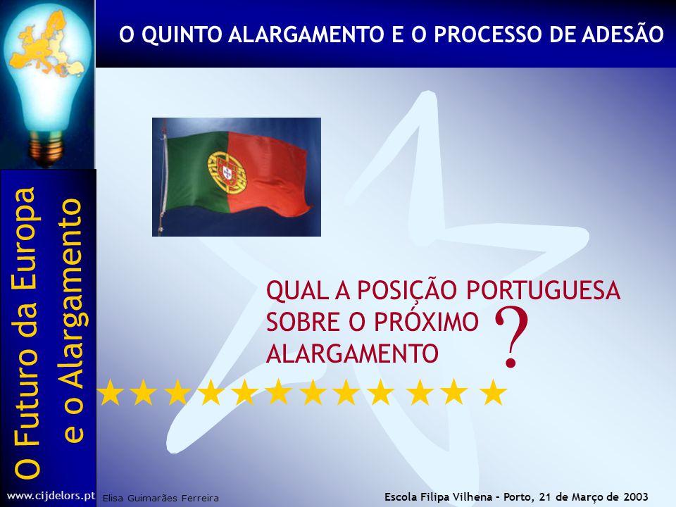 O Futuro da Europa Elisa Guimarães Ferreira e o Alargamento www.cijdelors.pt Escola Filipa Vilhena – Porto, 21 de Março de 2003 QUAL A POSIÇÃO PORTUGUESA SOBRE O PRÓXIMO ALARGAMENTO .