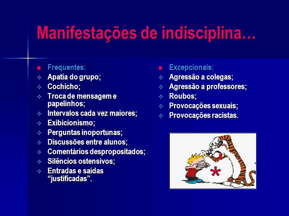 O que se entende por indisciplina…? A indisciplina é uma problemática actual e que muito tem contribuído para uma crescente imagem negativa da escola,