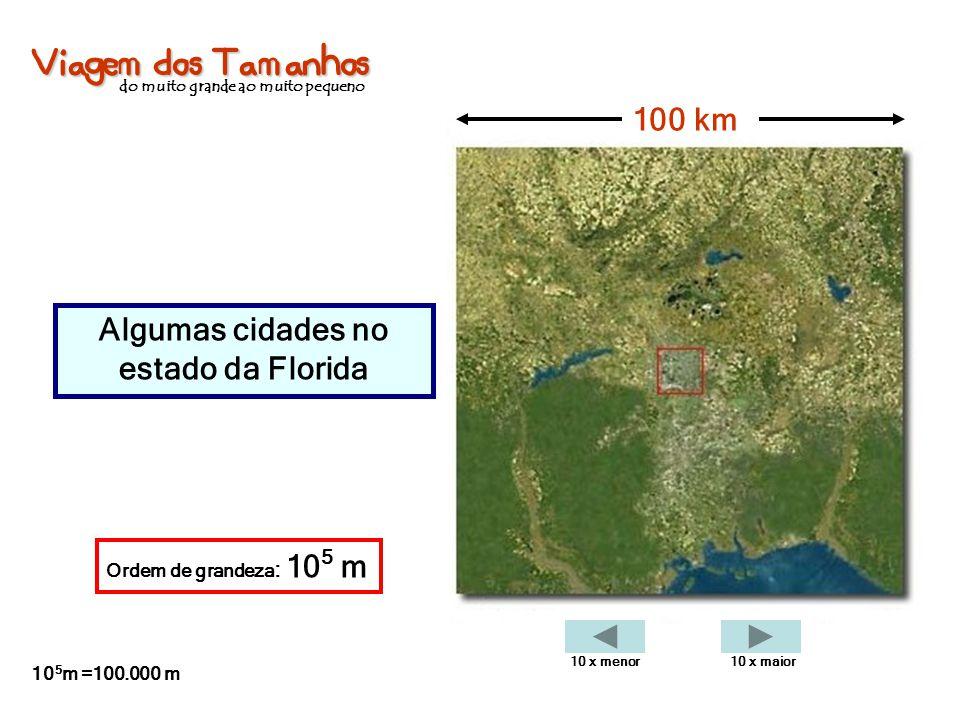 Viagem dos Tamanhos do muito grande ao muito pequeno Algumas cidades no estado da Florida 100 km Ordem de grandeza : 10 5 m 10 5 m =100.000 m 10 x men
