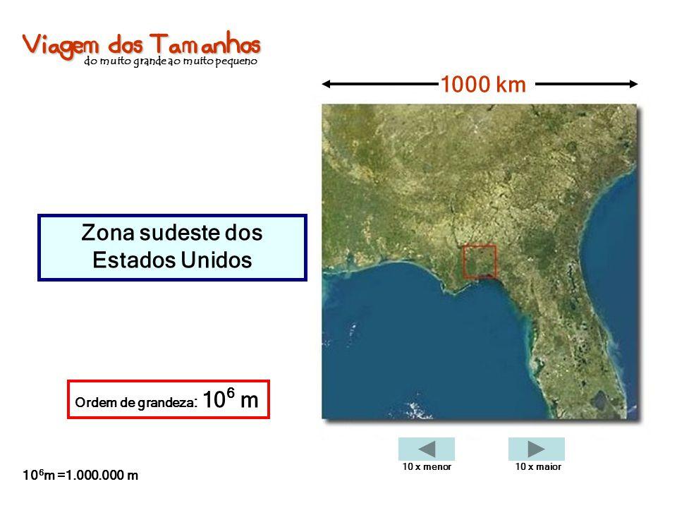 Viagem dos Tamanhos do muito grande ao muito pequeno Zona sudeste dos Estados Unidos 1000 km Ordem de grandeza : 10 6 m 10 6 m =1.000.000 m 10 x menor