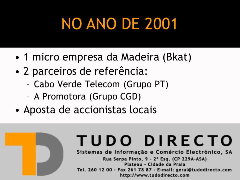 1 micro empresa da Madeira (Bkat) 2 parceiros de referência: –Cabo Verde Telecom (Grupo PT) –A Promotora (Grupo CGD) Aposta de accionistas locais NO ANO DE 2001
